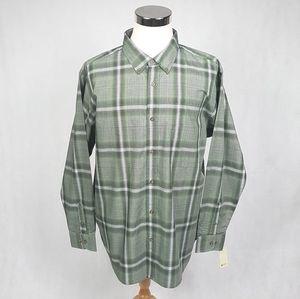 NWT HAGGAR Men's Plaid Long Sleeve Button Front